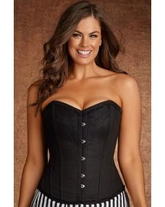Plus Size Lilith Vintage Negro Lace y algodón acero deshuesado Corset