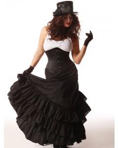 Corsé de cuero color negro deshuesado Jules Plus Size