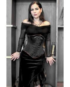 Satén de Duquesa Negro Lilah Acero Corsé Deshuesado con Panel Desprendible