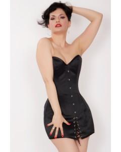 Acero de Satén de Duquesa Negro Deshuesó Vestido de Corsé Mini