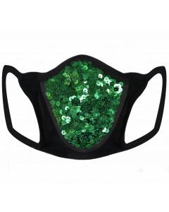 Mascarilla verde de lentejuelas y licra con filtro