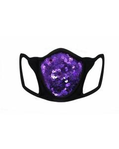 Máscara de lentejuelas moradas y filtro de lycra