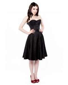 Vestido Corseted Floral Negro