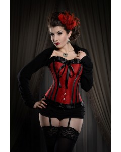 Corsé negro y rojo con cinta