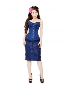 Corsé de Brocado Real Azul y Falda Azul