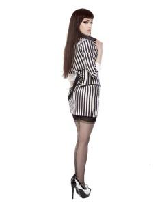 Raya blanca y negra Falda de Lápiz Corta