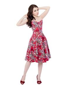 Vestido de Corsé Rojo Floral con Corsé Largo