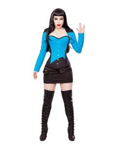 Corsé Negro/azul, Bolero, Falda y Equipo de Cinturón