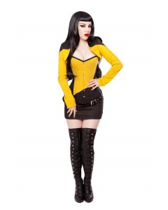 Corsé Negro/amarillo, Bolero, Falda y Equipo de Cinturón