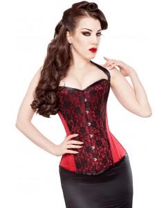 Corsé de Satén de Duquesa Rojo con Velo de Cordón Opulento