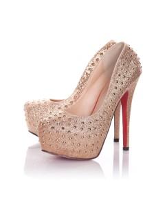 Zapatos de Brillo De oro con Detalle de Tachón